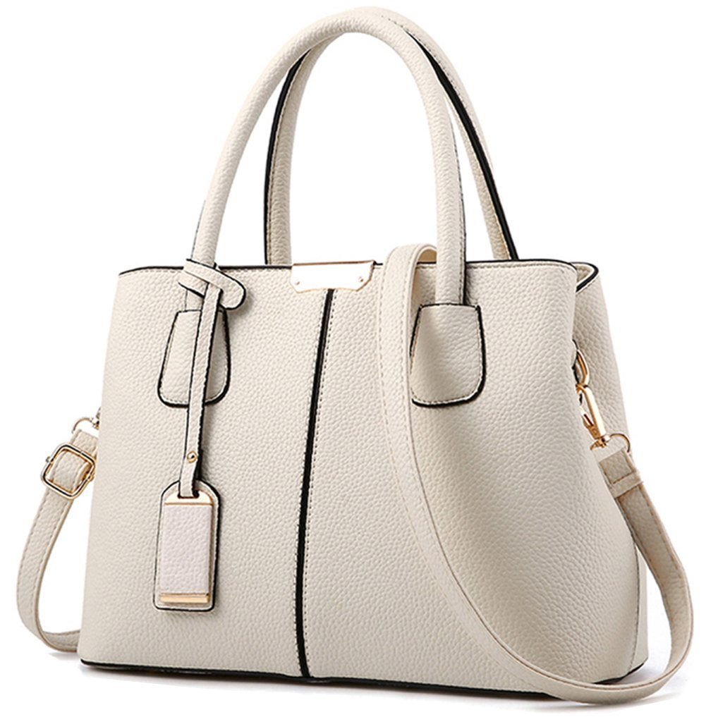 Covelin Women's Top-handle Cross Body Handbag Middle Size Purse Durable Leather Tote Bag Beige