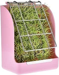 Pet Rabbit Hay Feeder, Grass Feeder, Manger Rack Rabbit Guinea Pig Chinchilla (Pink)