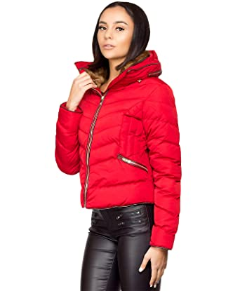150747ca7 Lexi Fashion Ladies Womens Quilted Bubble Padded Faux Fur Collar ...