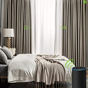 Yoolax Motorized Electric Blackout Curtain Texture Thermal Insulated Drapes Compatible with Alexa and Google Home Remote Control Smart Curtain Customized (Plain Beige)