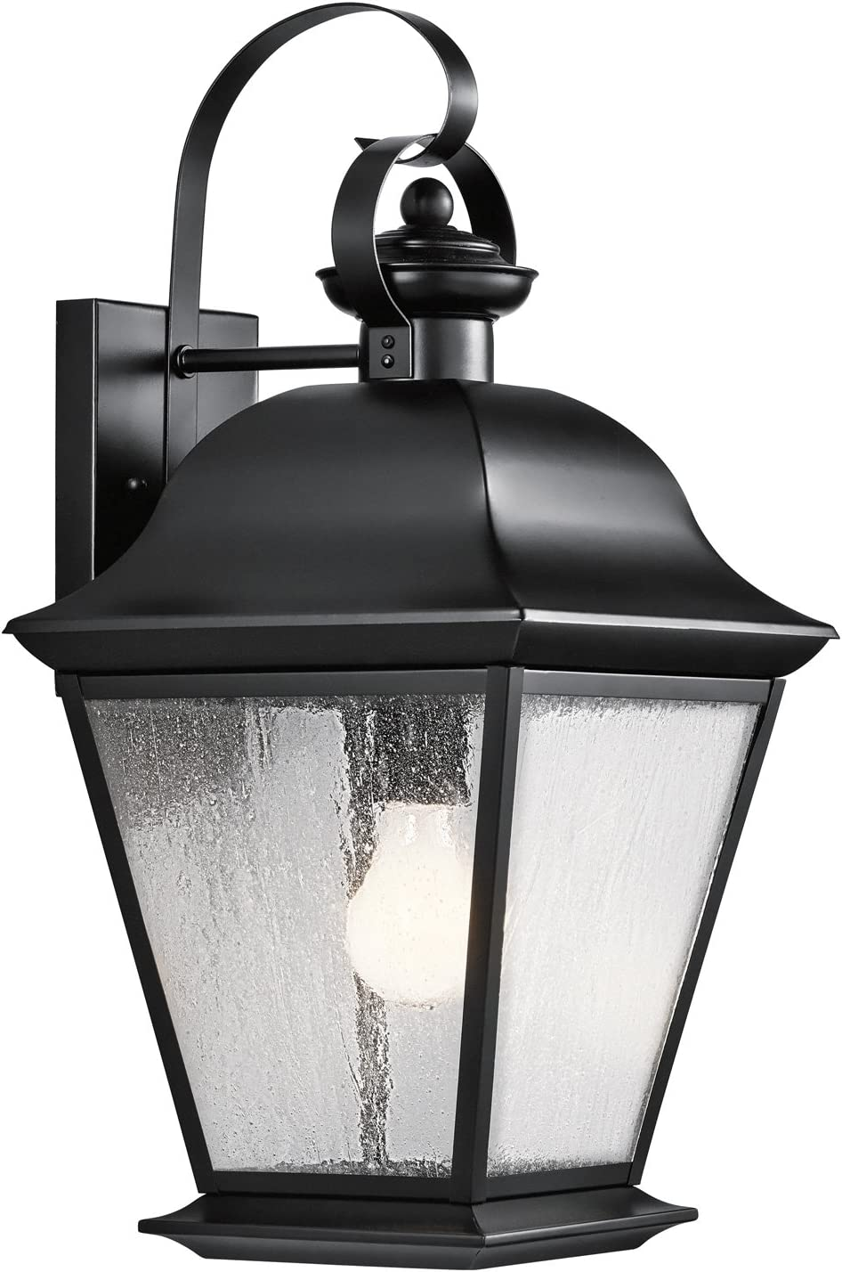 Kichler 9709BK Mount Vernon Outdoor Wall Sconce, 1 Light Incandescent 150 Watts, Black