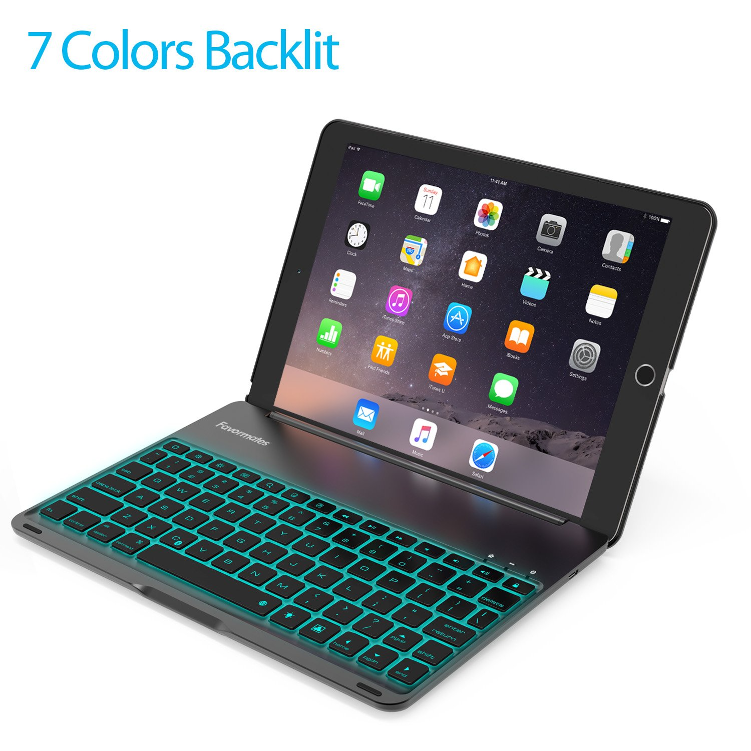 Keyboard Case Compatible 2017 iPad 9.7 inch 5th Gen& iPad Air &2018 iPad(6th Gen)-Backlit Bluetooth Keyboard, Back Hard Folio Cover, Aluminium Alloy Model:A1822/A1823/A1474/A1475/A1476/A189 by Favormates