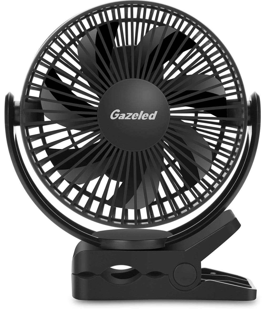 Gazeled Battery Operated Fans for Camping, Battery Powered Fan with Clip, Timer, 3 Speeds, 6700mAh Rechargeable Stroller Fan, Portable Fan with Strong Clamp, Quiet Desk Fan for Home,Office,Black