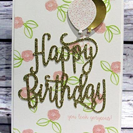 Happy Birthday Cutting Dies Stencil Scrapbook Paper Card Embossing Craft DIY