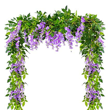 Amazon 4pcs 66feetpiece Artificial Flowers Silk Wisteria