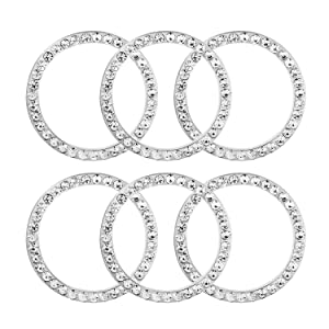 6 Pcs Car Decor Crystal Rhinestone Ring, Car Bling Sticker Emblem Ring, Bling Car Interior Decor Ring for Car Engine Ignition Button Key & Knobs, Unique Gift (Silver)