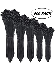 Cable Zip Ties,500 Packs Self-Locking 4+6+8+10+12-Inch Width 0.16inch Nylon Cable Ties,Perfect for Home,Office,Garage and Workshop (Black)