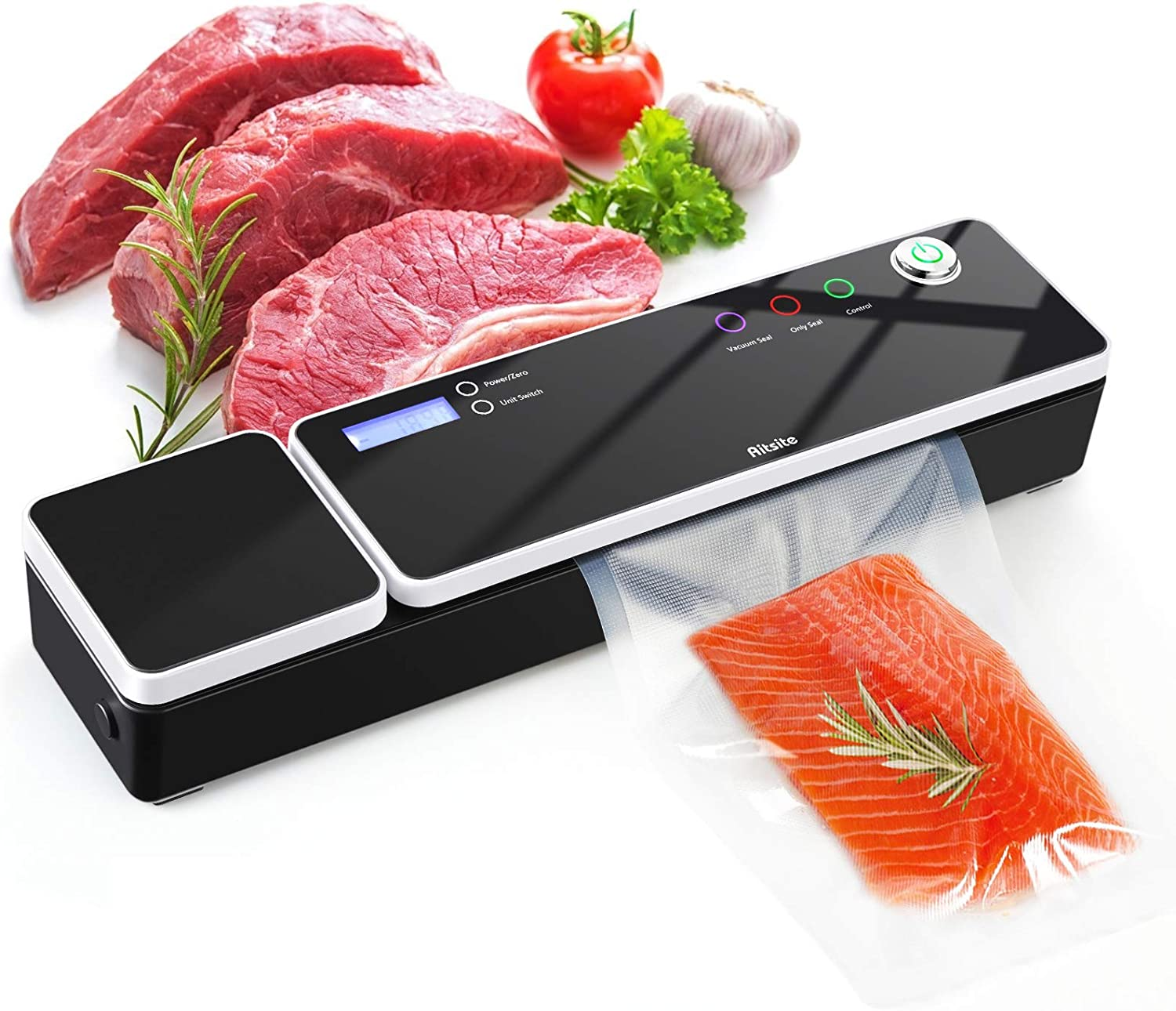 Vacuum Sealer Machine, Aitsite Automatic Food Sealer for Food Savers/Food Scale|Led Indicator Lights|Easy to Clean|Dry & Moist Food Modes| Compact Design|Starter Kit (BLACK)