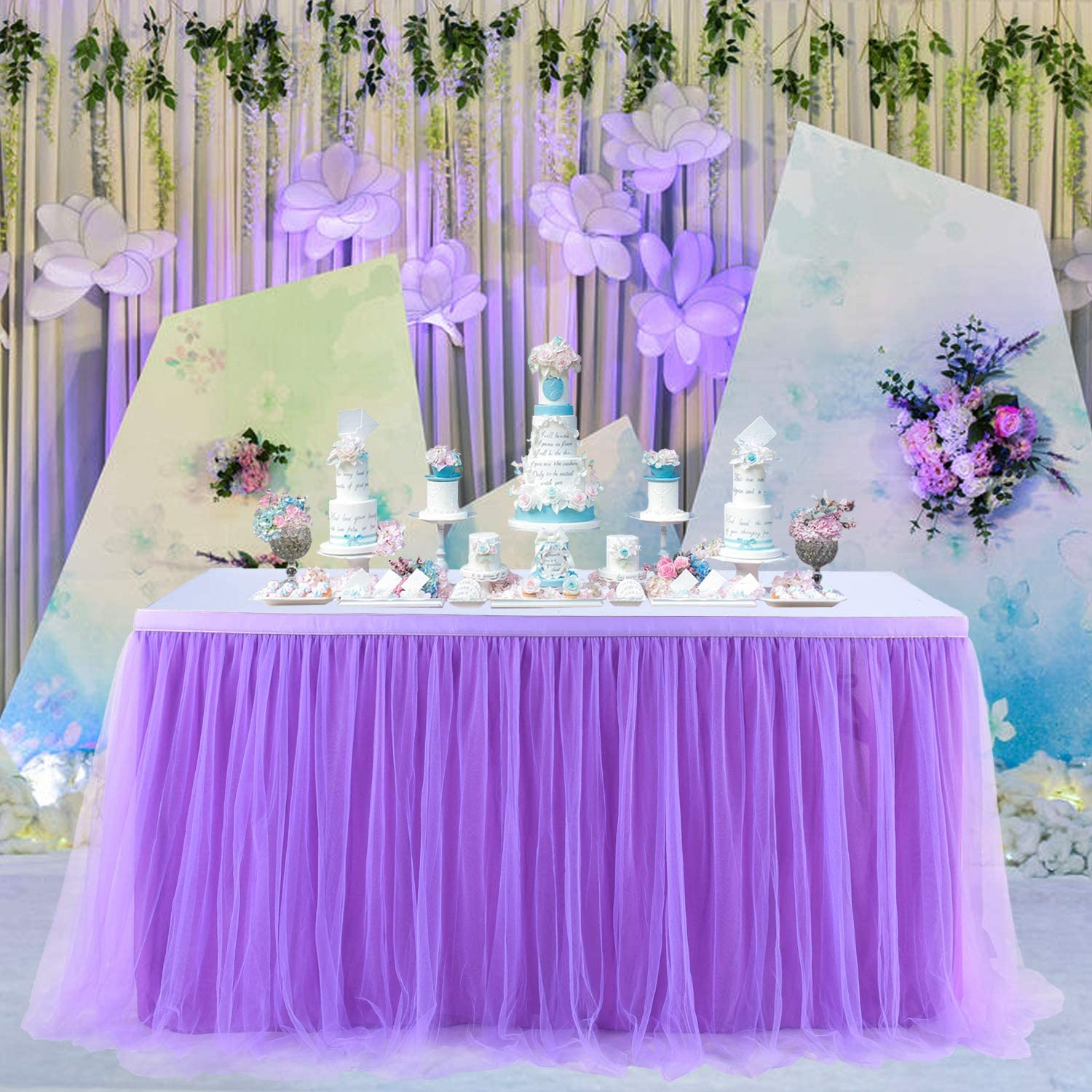 KIXIGO Tulle Table Skirt Tableware Table Cloth,Tutu Table Skirting for Party,Wedding,Birthday Party Home Decoration,High-end Gold Brim 3 Layer Mesh Fluffy (Purple, L 6(ft) H 30in)