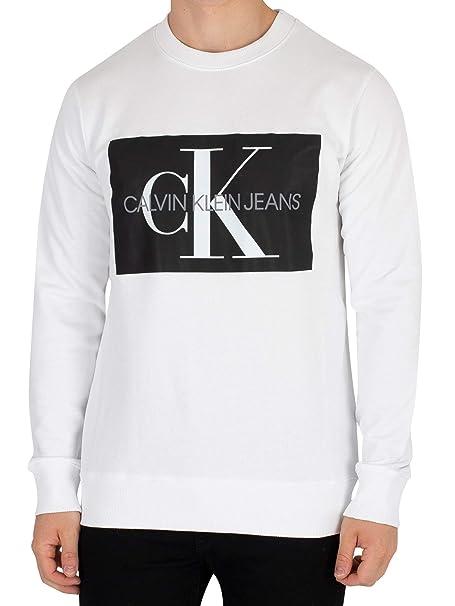 Calvin Klein Jeans Hombre Sudadera Monogram Box, Blanco: Amazon.es: Ropa y accesorios