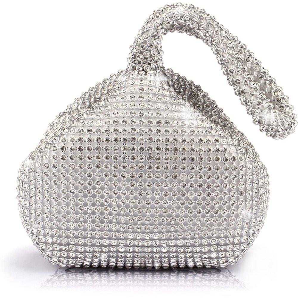 P&R Triangle Luxury Full Rhinestones Women's Fashion Evening Clutch Bag Party Prom Wedding Purse - Best Gife For Women (Sliver)