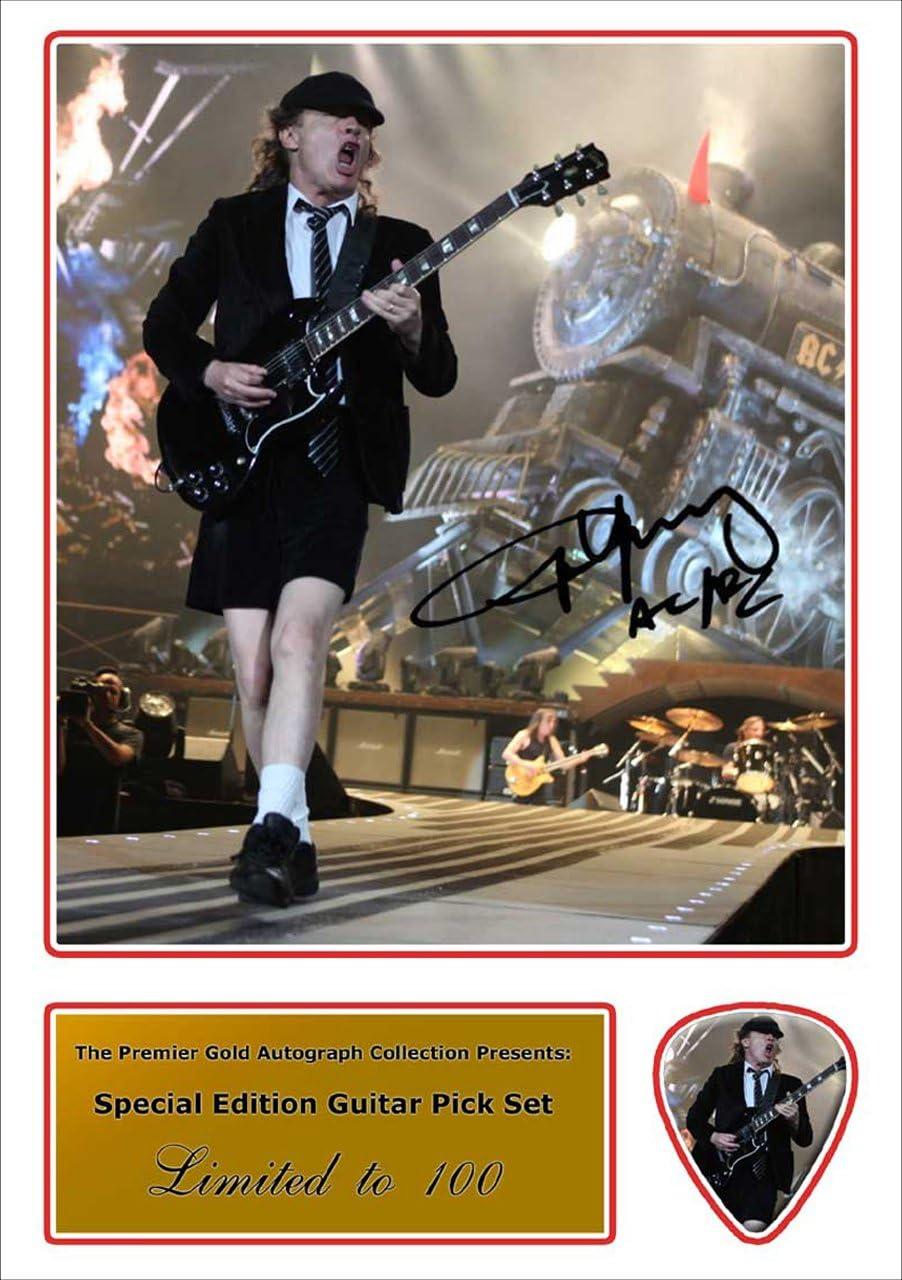 Printed púas Company Angus Young AC/DC foto firmada y púa de guitarra a juego (autógrafo y juego de púa): Amazon.es: Instrumentos musicales