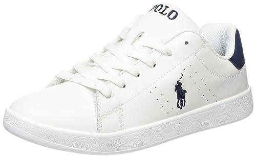 Polo Ralph Lauren Quilton Blanco/Armada Cuero Jóvenes Zapatillas De Deporte Zapatos: Amazon.es: Zapatos y complementos