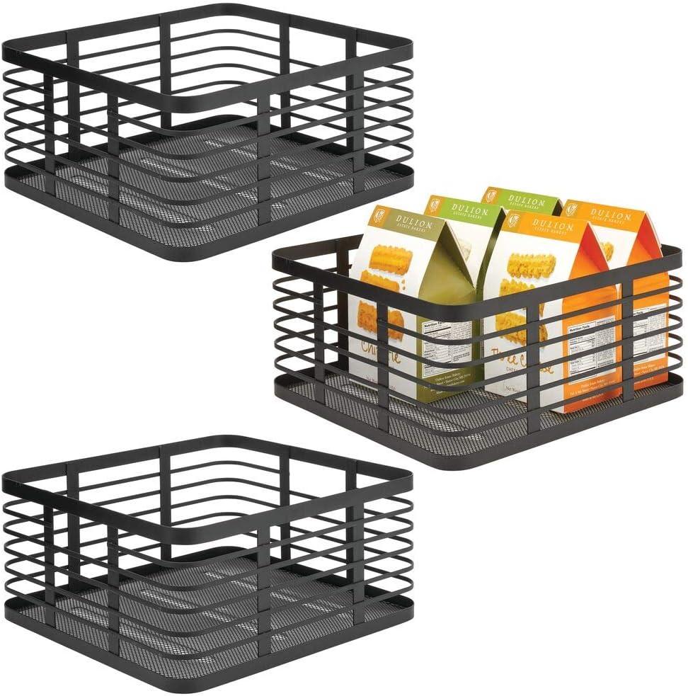 mDesign Modern Decor Metal Wire Food Organizer Storage Bin Baskets for Kitchen Cabinets, Pantry, Bathroom, Laundry Room, Closets, Garage - 3 Pack - Black