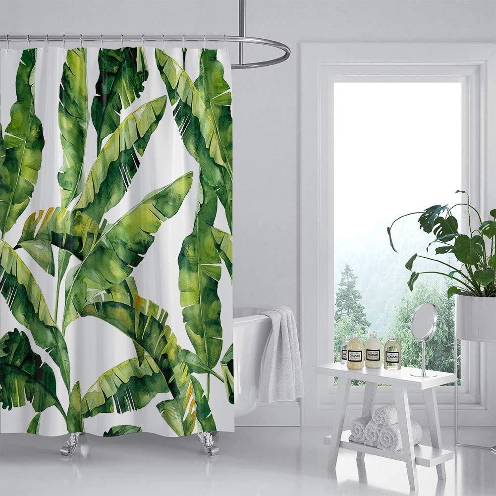 180x180cm JOTOM Rideau de Douche Non-d/écoloration Durable Polyester Cactus Feuilles Flamingo Motif avec 12 Crochets Cactus