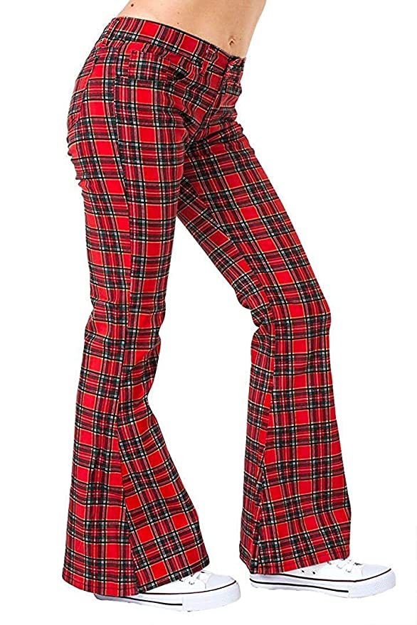 60s – 70s Pants, Jeans, Hippie, Bell Bottoms, Jumpsuits Run & Fly Womens 60S 70S Stewart Tartan Bell Bottoms Flares Hippie Vintage $54.95 AT vintagedancer.com