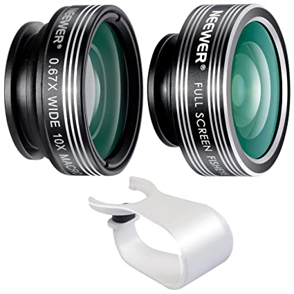 Neewer 3-in-1 Clip-on Lens for iPhone X 8 7 6, Android Tablets, iPad,  Samsung Galaxy etc: 180° Fisheye Lens