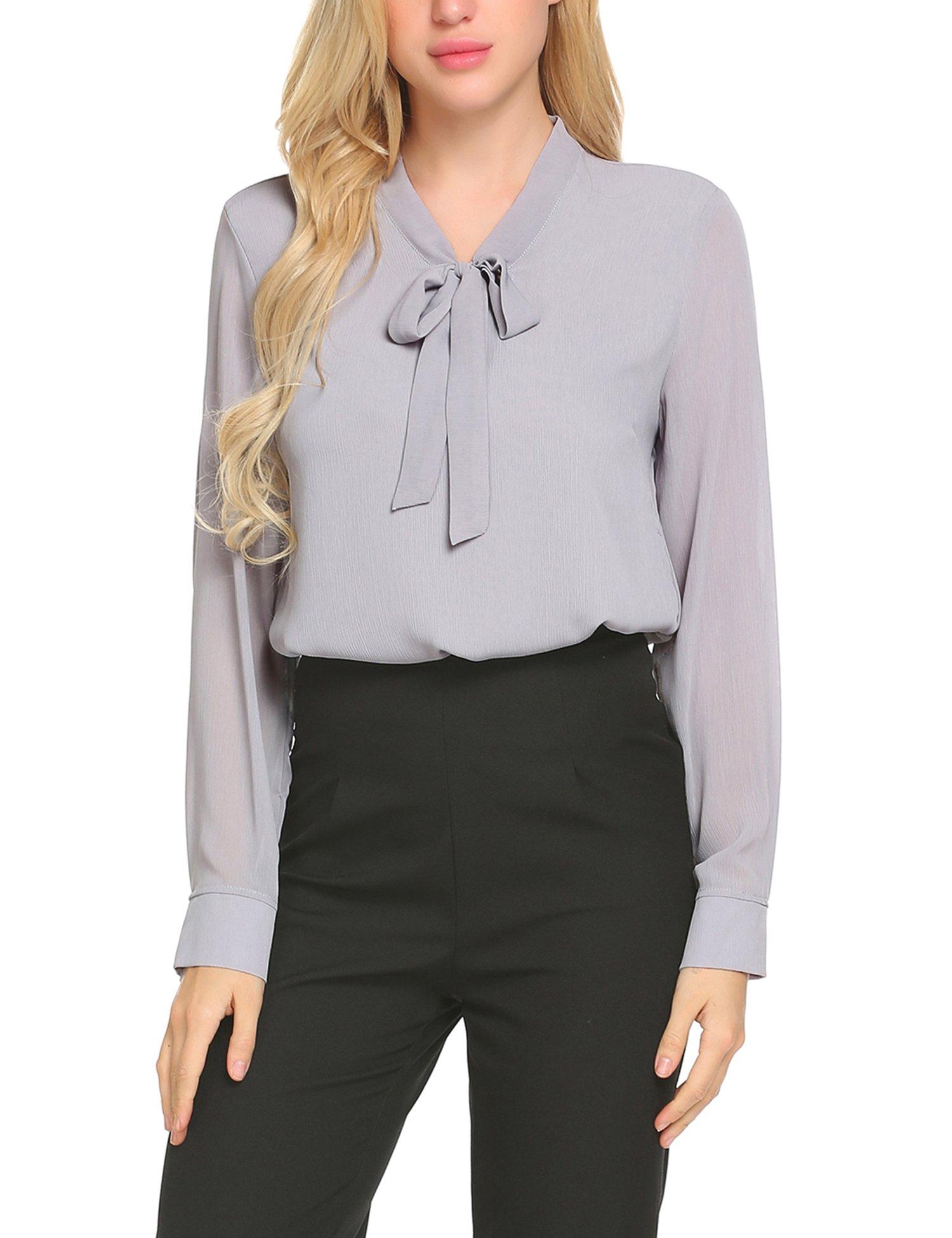 ACEVOG Business Shirt Womens Pussycat Bow Tie Neck Long Sleeve Chiffon Light Grey Blouse,Small