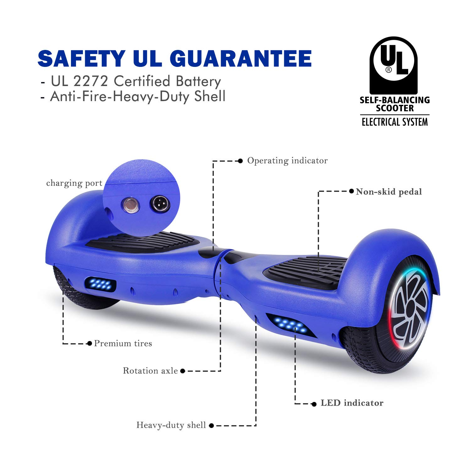 SISIGAD Hoverboard, Self Balancing Hoverboard, 6.5'' Two-Wheel Self Balancing Scooter, Smart Hover Board for Kids Gift, Adult Electric Scooter, with LED Lights and Free Carrying Bag UL2272 Certified by SISIGAD (Image #2)