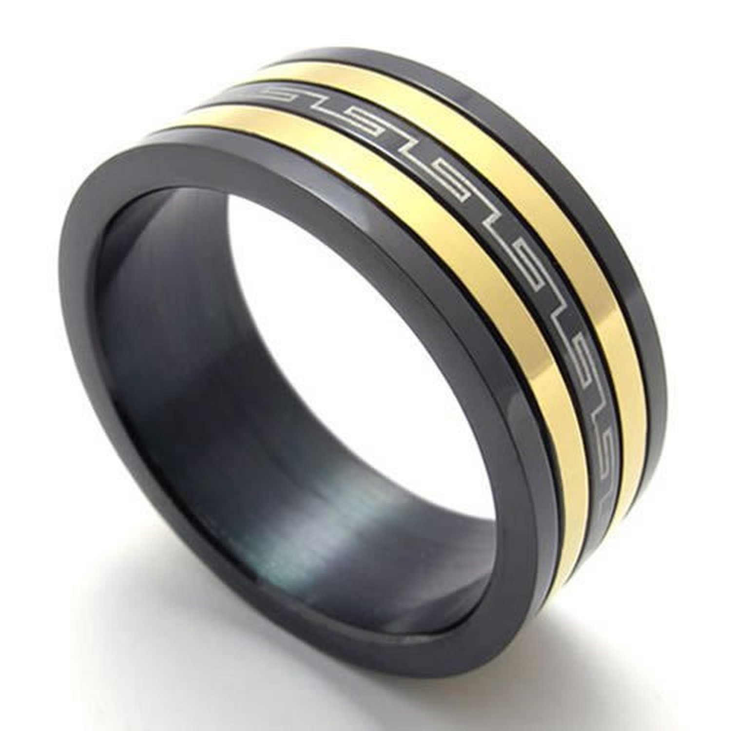 CLJSTORE Jewelry Spinning Mens Rings, Spinner Polished Stainless Steel Band, Black Gold