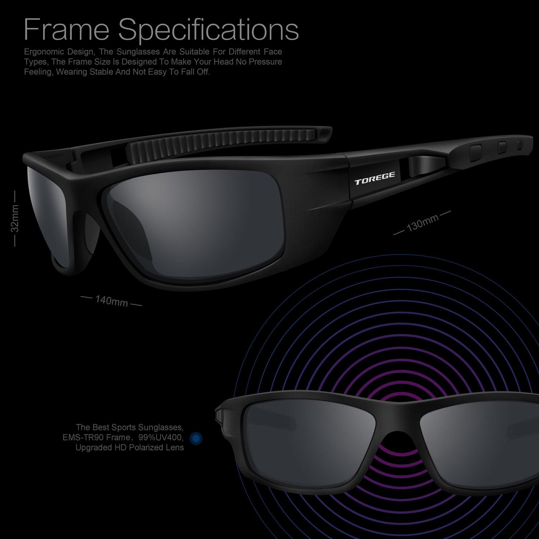 Torege TR040 - Lunettes de soleil polarisées mixtes pour sport, cyclisme, course à pied, pêche, rB0LI8MU1w, Black&Black&Gray Lens