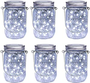 LiyuanQ Hanging Solar Mason Jar Lid Lights, 6 Pack LED String Fairy Lights Solar Lanterns Table Lights, 6 Hangers and Jars Included, Great Outdoor Décor for Lawn Patio Garden Yard (Cool White)