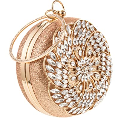 8ea3f4633ee Womens Evening Bag Round Rhinestone Crystal Clutch Purse Ring Handle Handbag  For Weddng Prom Party …