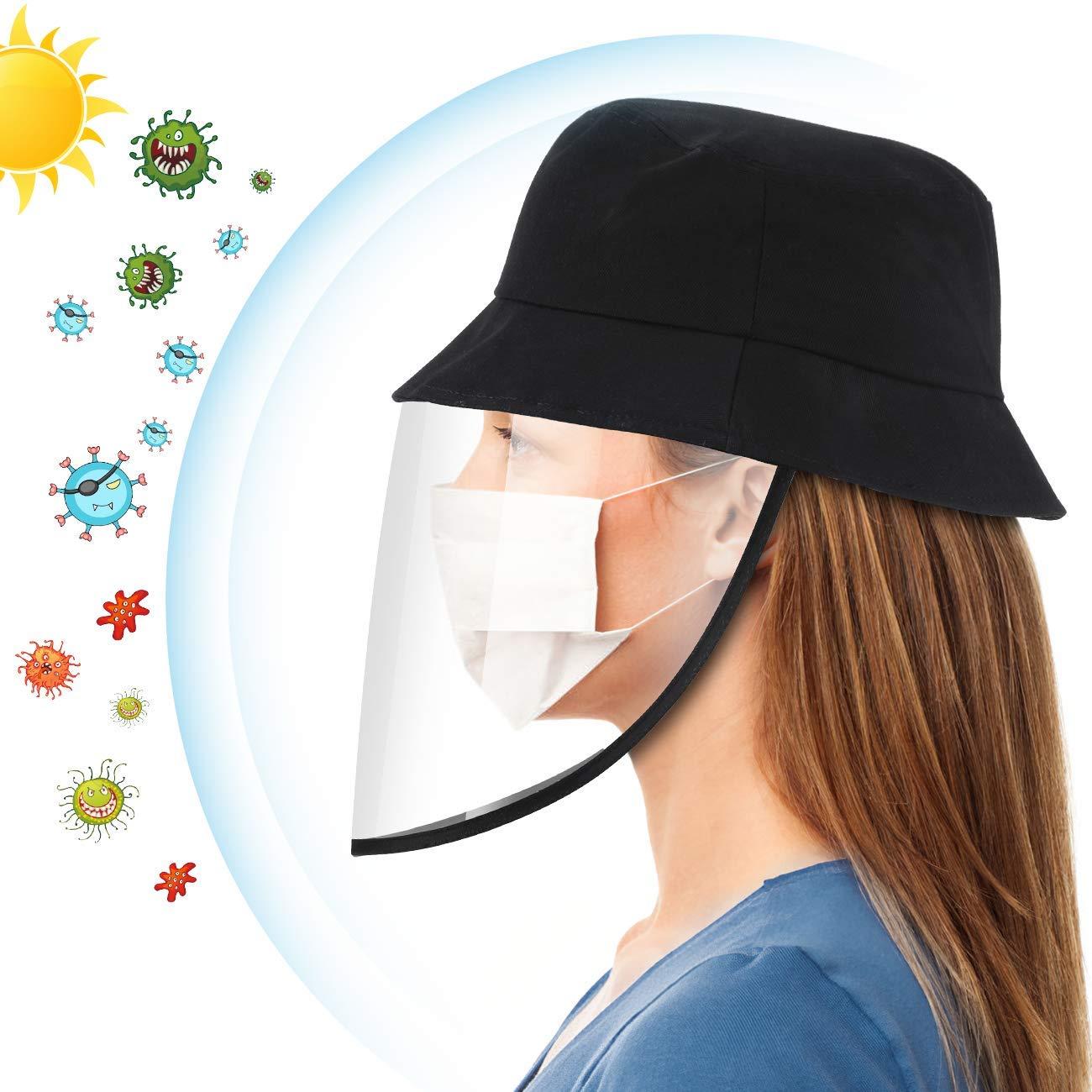 Sombrero con Pantalla Protectora Desmontable al Aire Libre, AGPTEK Gorra de Pescador Antiniebla para Anti-Virus, Bacterias, Saliva y Polvo, Negro