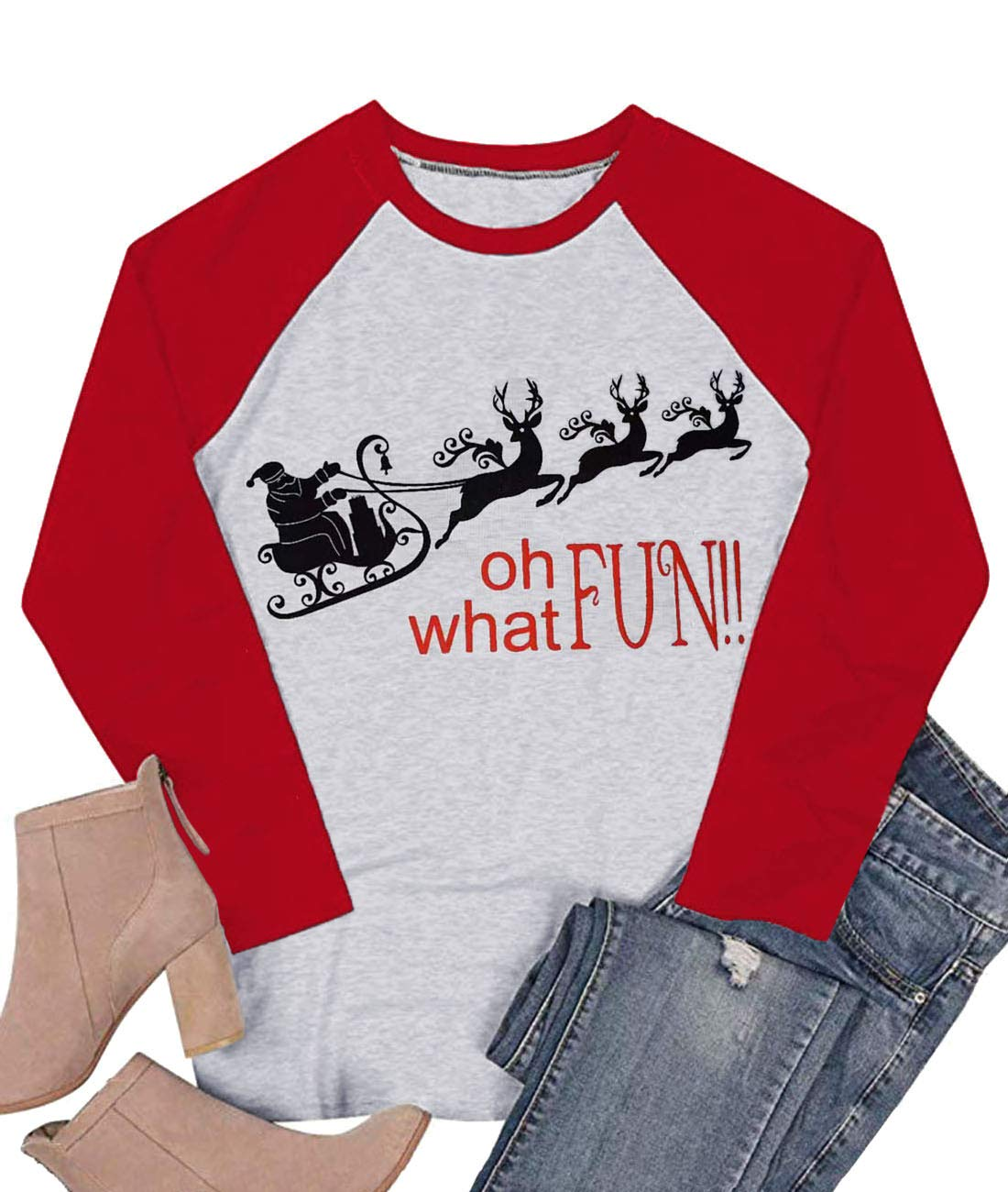 LeMarnia Women's Crewneck Cute Christmas Shirts Letter Print Graphic Tees Color Block Casual Raglan Tops Red2 L