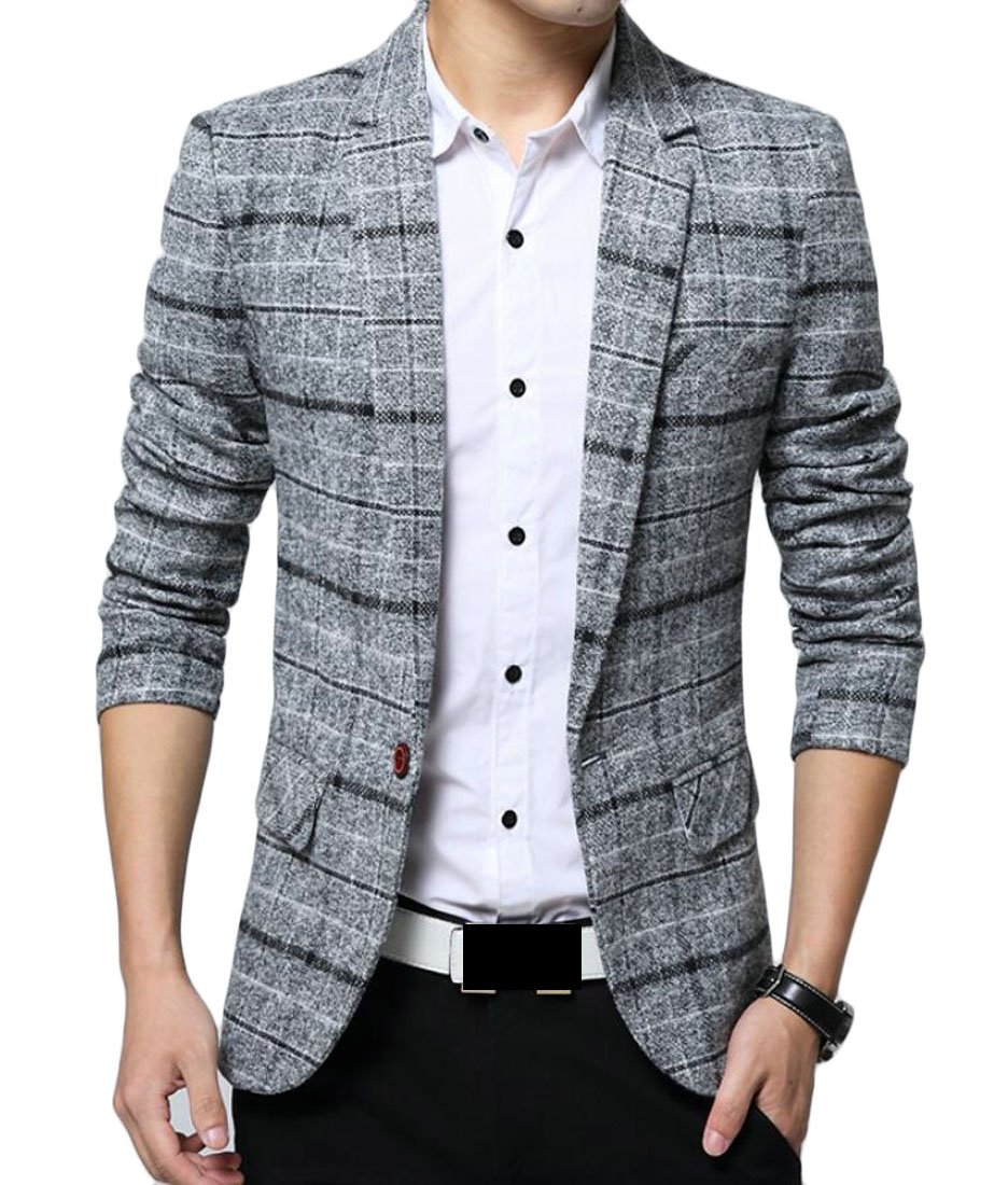 Spirio Men Notched Lapel One Button Plaid Flap Pockets Business Blazer Jackets Coat