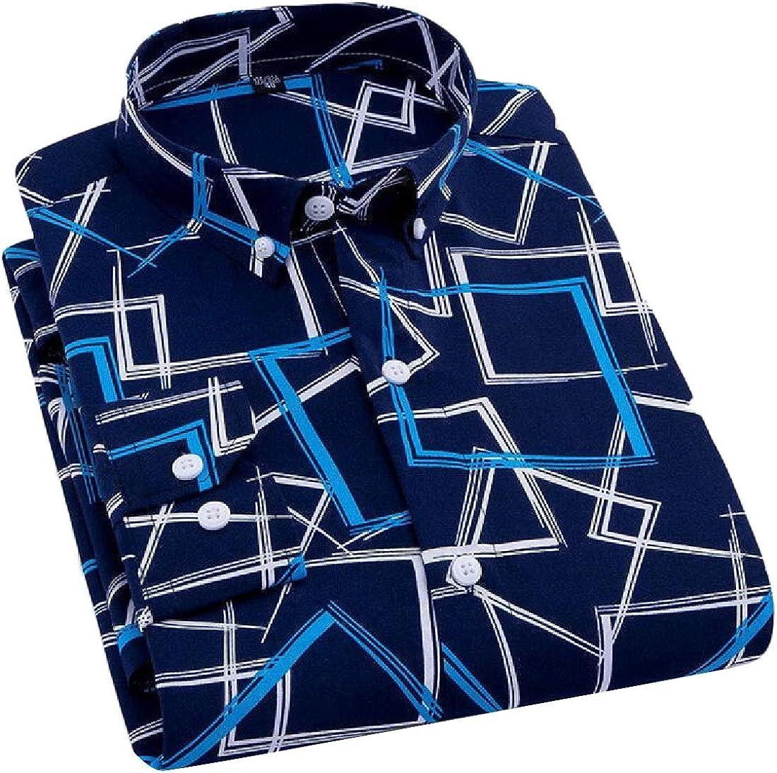 Rrive Mens Casual Plaid//Stripe Slim Long Sleeve Business Button Up Shirt