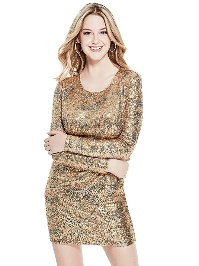 6003eb32 GUESS Women's Long Sleeve Klara Sequin Dress at Amazon Women's Clothing  store: