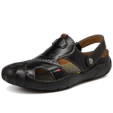 636699a47c99 New Fashion Men s Leather Sports Sandals Summer Outdoor Fisherman  Breathable Sport Beach Sandals Black 44