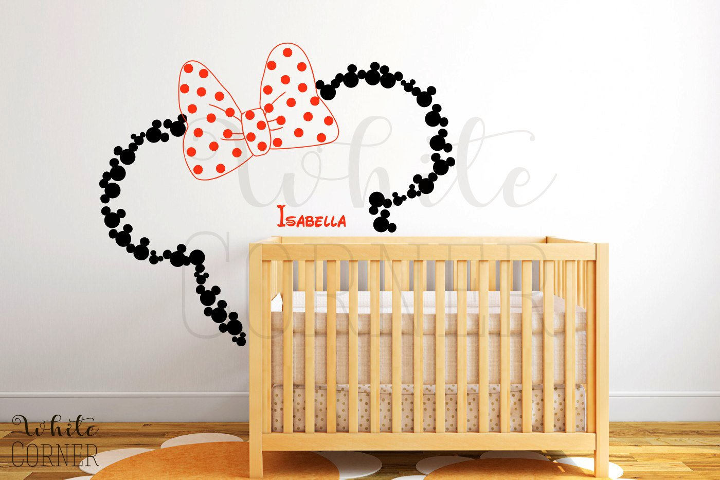 Mickey and minnie wall stickers home design amazon wall decal vinyl sticker decals art decor design disney custom baby name amipublicfo Image collections