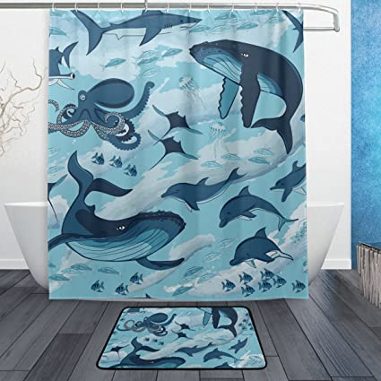 Dragon Sword Marine Shark Whale Octopus Dolphin Jellyfish Bathroom Set  Waterproof Fabric Polyester Bath Shower Curtain
