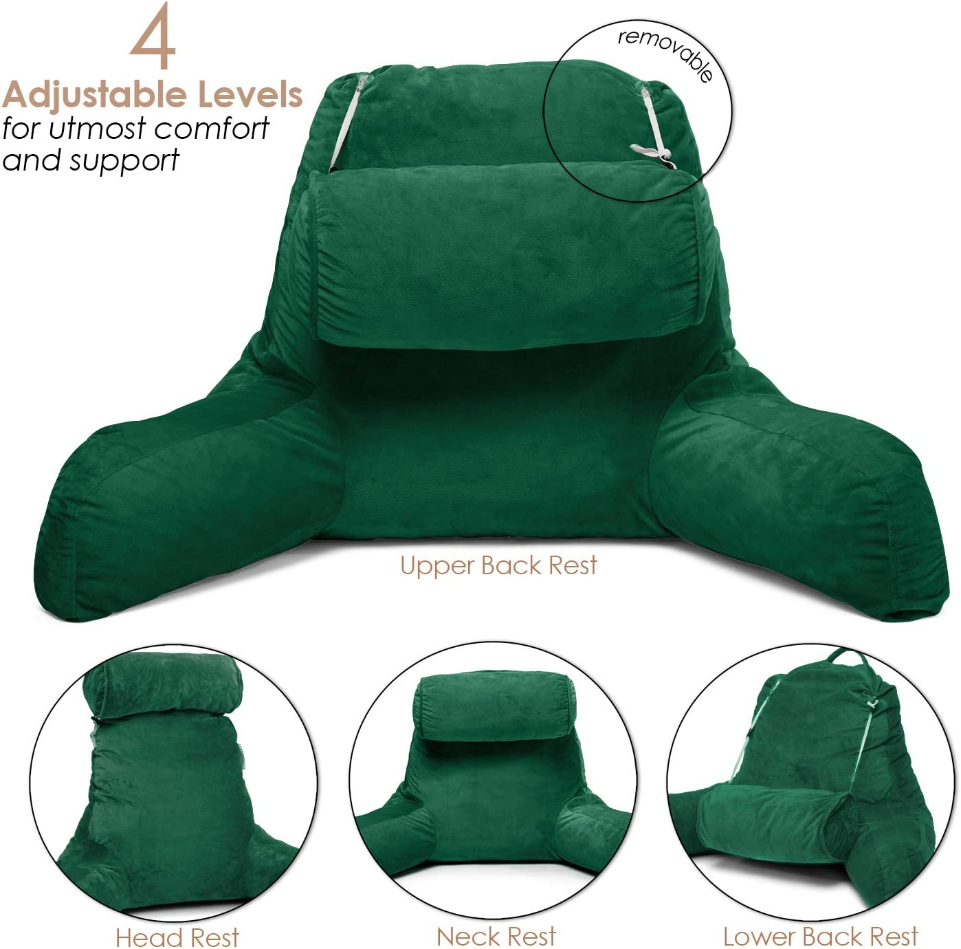 Clara Clark Bed Rest Reading Pillow with Arms and Pockets Premium Shredded Memory Foam, Detachable Neck Roll & Lumbar Support, Large, Hunter Green: Home & Kitchen