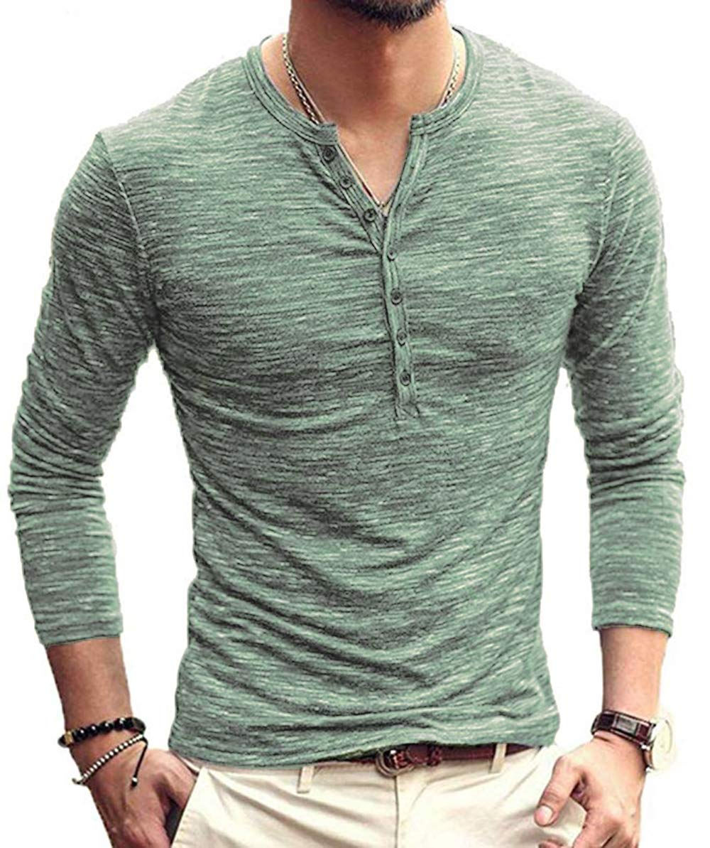 BABEIYXM Men's Soild Henley Long Sleeve Tops Buttons Front Casual T Shirts Tee,Green,L