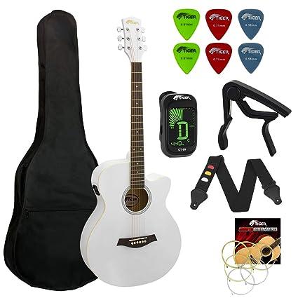 Tigre principiantes Electro guitarra acústica Paquete - Blanco ...