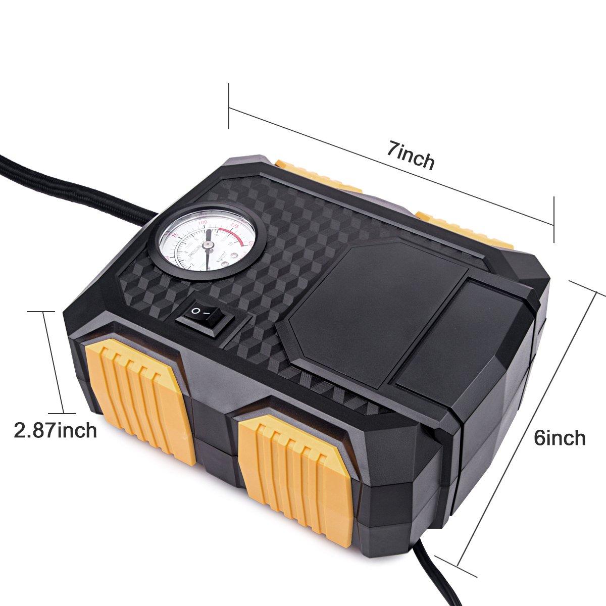 12V DC 150PSI Electric Auto Air Compressor Pump,Huicocy Portable Digital Car Tire Inflator Tire Pump with Led Light 3M Power Cord