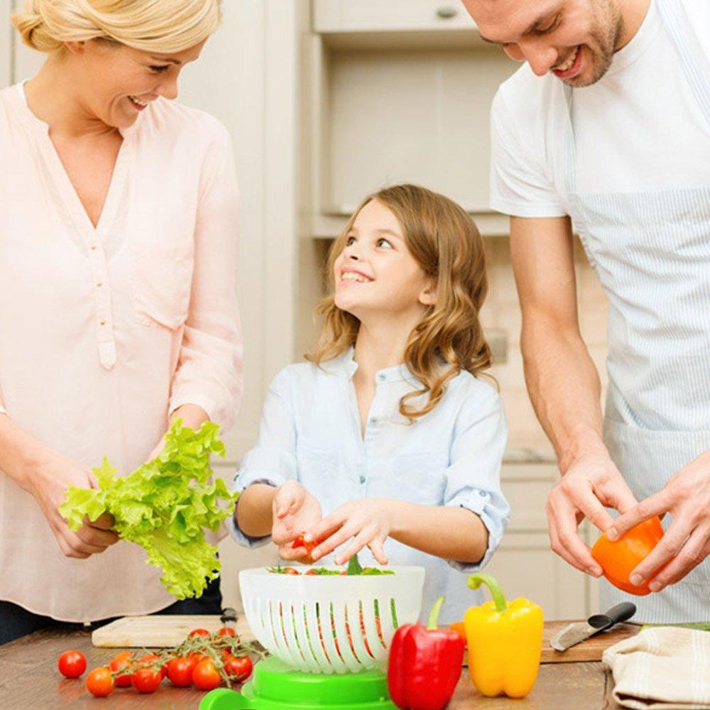 Salad Cutter Bowl, Fast Fresh Salad Slicer 60 Seconds Salad maker Vegetable Fruit Bowl Cutter & Strainer Dual Use - Gift Package Bonus included(Green) by exeblue (Image #2)