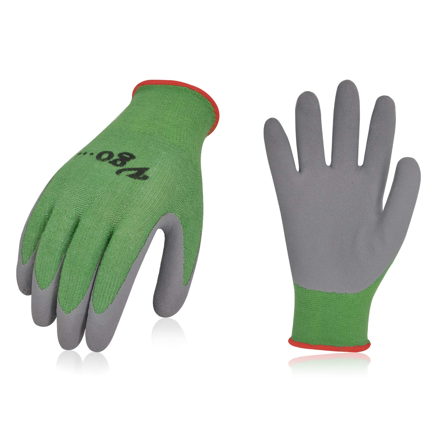 Vgo 2Pairs Kids Gloves for Age 3-5, Bamboo Work Gloves for Gardening, Green Environmental Features(Size XXXS,Green,KID-RB6026)