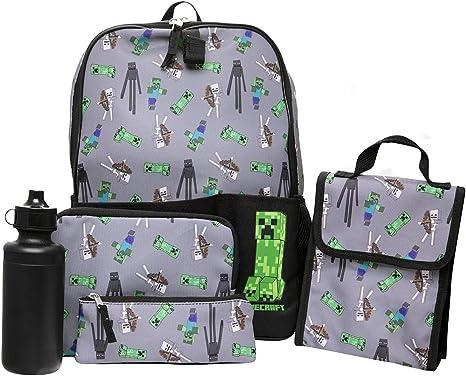 Minecraft - Mochila escolar de 5 piezas, incluye bolsa de almuerzo, botella de agua, estuche y estuche de utilidad: Amazon.es: Equipaje