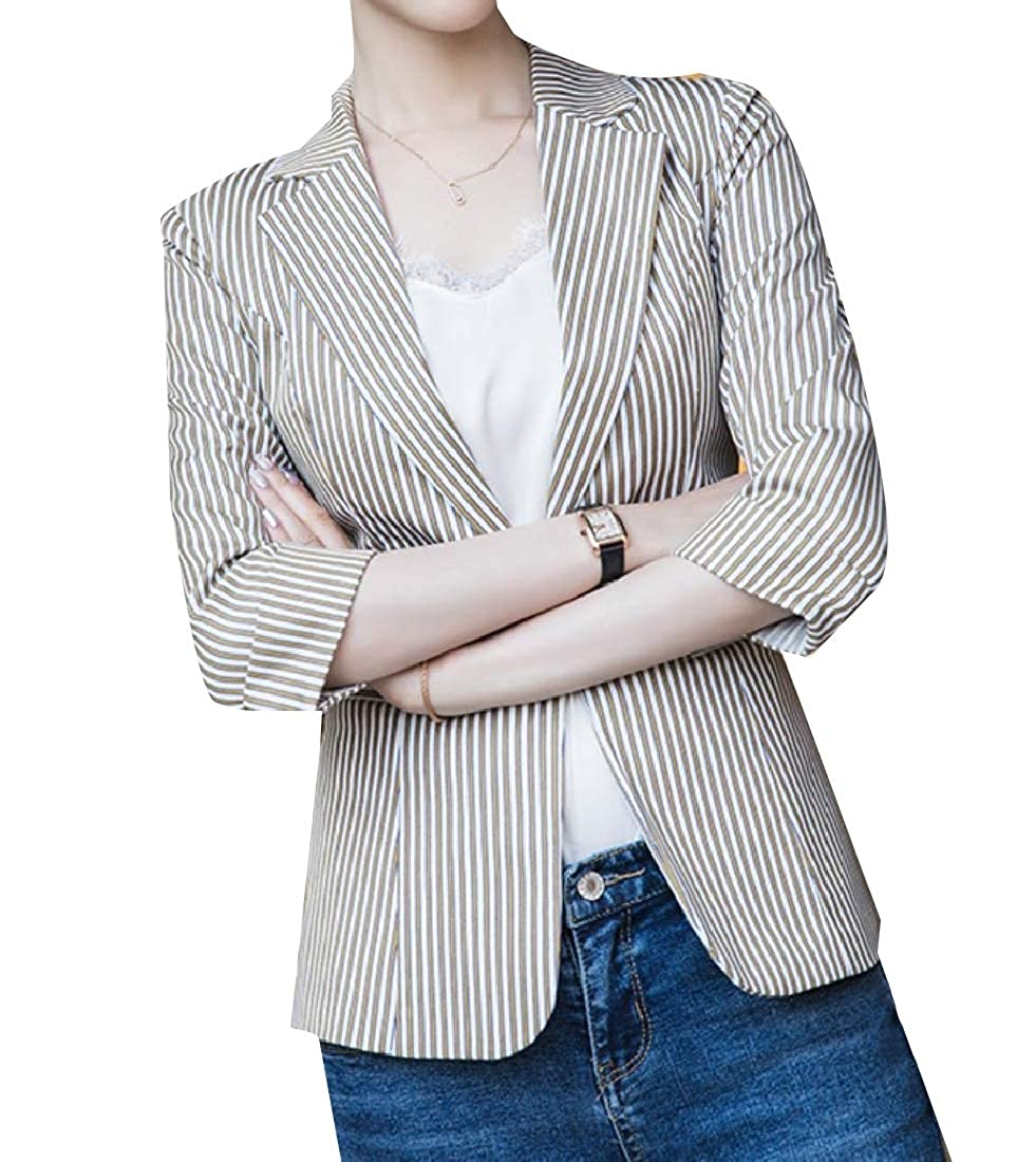 15bde3563d1 Comaba Women s One Button Office 3 4 Sleeve FashionPinstripe Welt Jacket at  Amazon Women s Clothing store