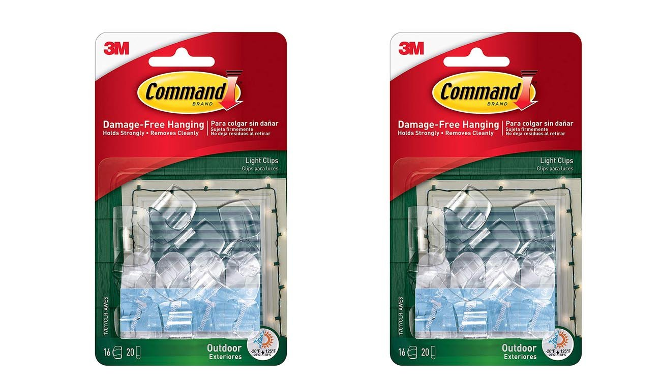 3M Command Decorating Strips Clear with 3MCommandOutdoor Light Clips, Clear, 16-Clips