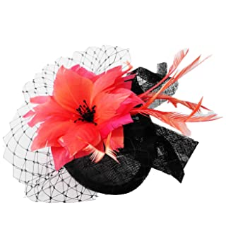 Elegant Sinamay   Flower Comb Fascinator (Black   Coral)  Amazon.co.uk   Health   Personal Care 5a7c56a2afc
