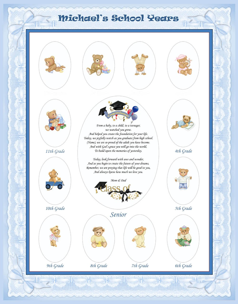 11 x 14 Blue Baby Boy Personalized Ribbon Border My School Years Days Photo Mat with Teddy Bear Illustration and Poem. Cute Baby Shower or Nursery Decor Gift