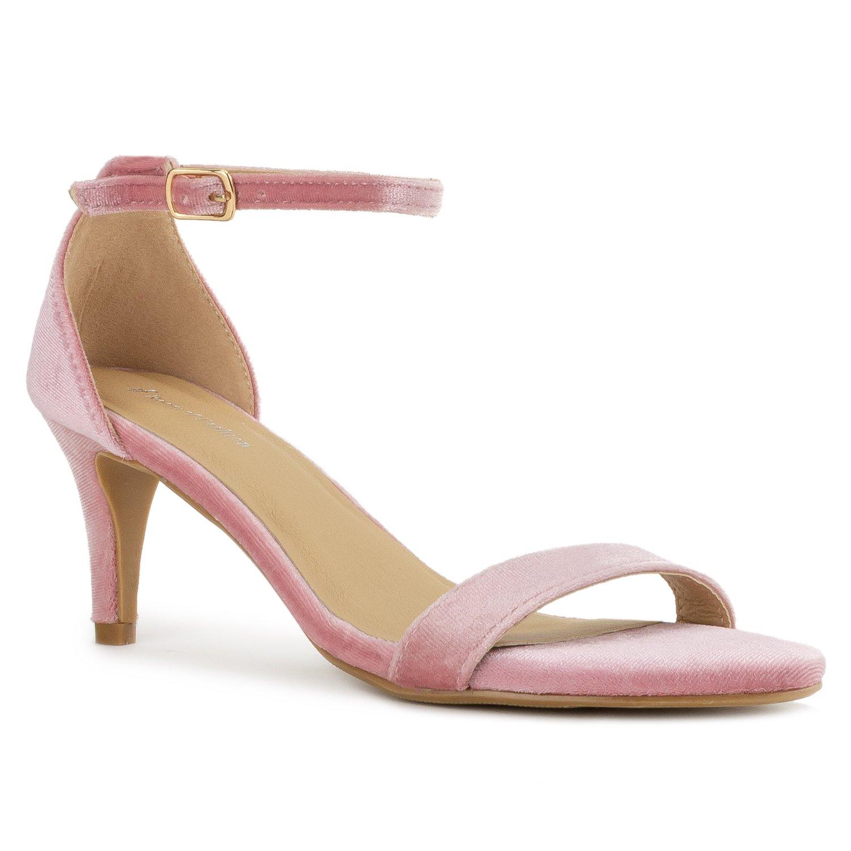 bluesh Crushed Velvet Room Of Fashion RF Fashion D'Orsay Ankle Strap Kitten Heel Dress Sandal - Ess.
