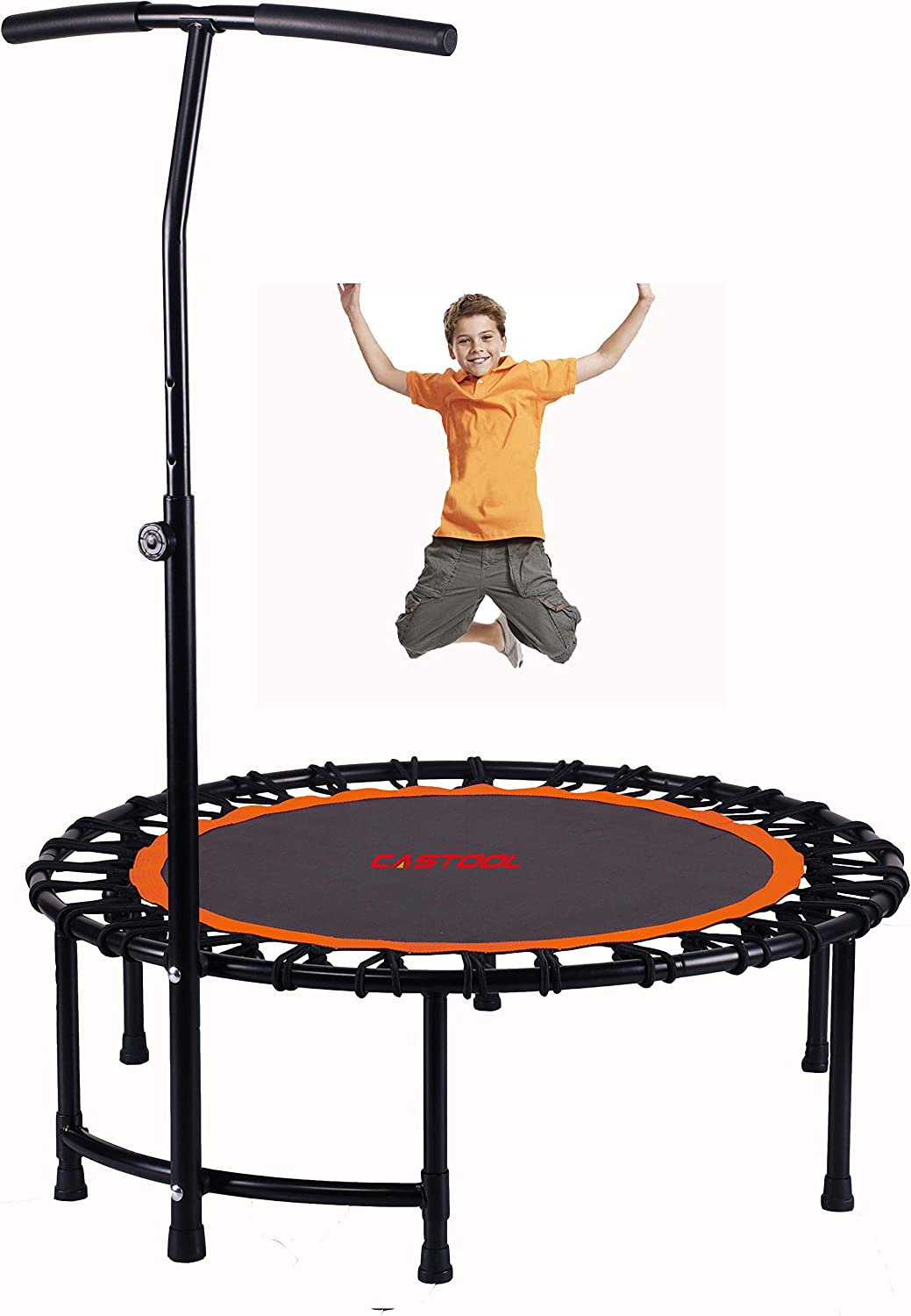 Orange CASTOOL 40Ultra Quiet Fitness Mini Circular Trampoline with Adjustable Handle,Safe Elastic Band Indoor Fitness//Home Workout Cardio Training for Adults and kids