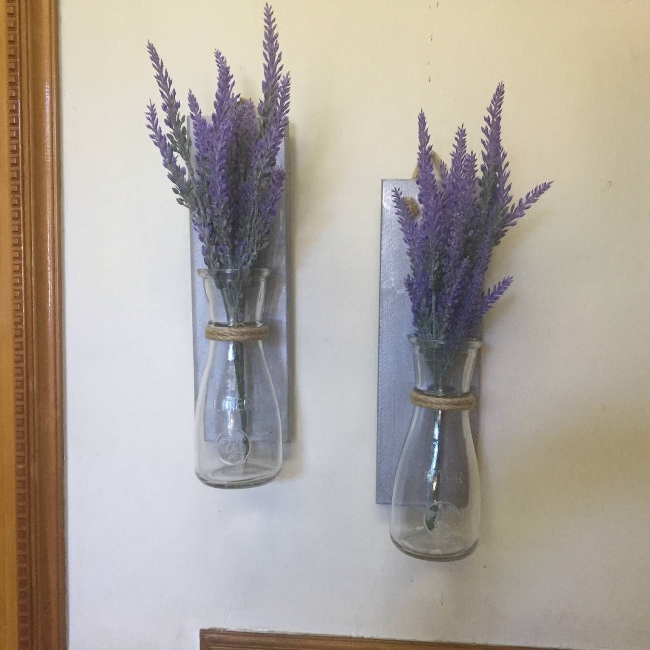 Silver Wood Mason Jar Sconce Wall Vase, Rustic Set of 2 Mason Jar Decor Wall Sconce Mothers Day Gift Anniversary Gift Rustic Home Decor