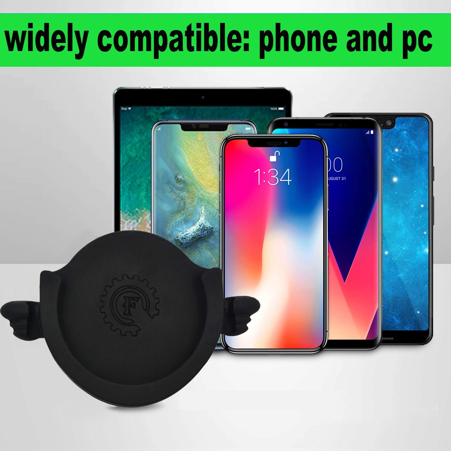 Black POP-F Car Mount for Phone Stand,Phone line Clasp,Car Phone Holder for Collapsible Grip//Socket Mount Users with 3M Sticky Adhesive Replacement Used on Dashboard Wall -2 Black Home Desk